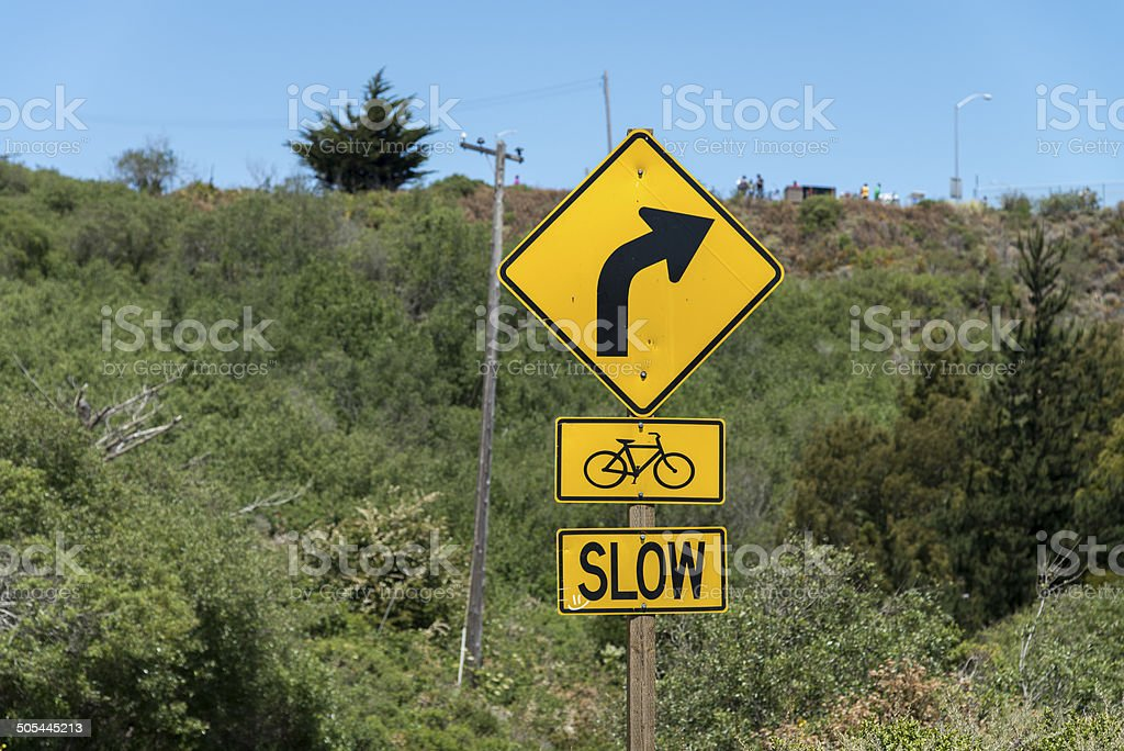 Road turn sign royalty-free stock photo