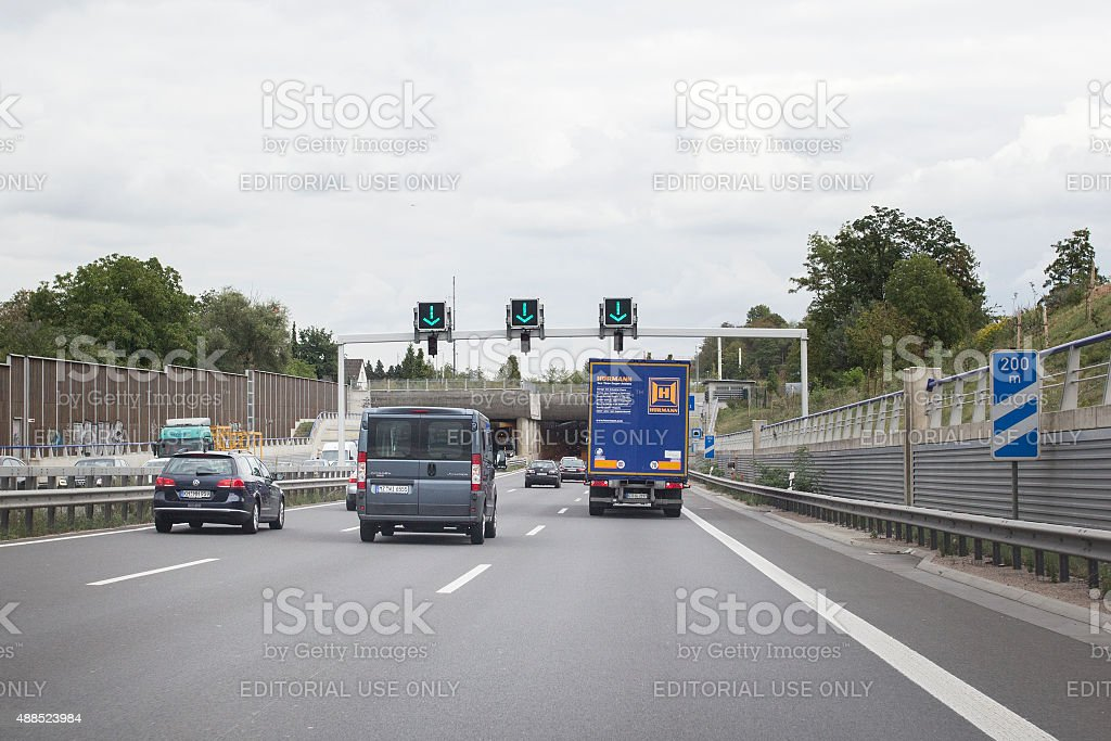 Road users on German Autobahn A60 stock photo