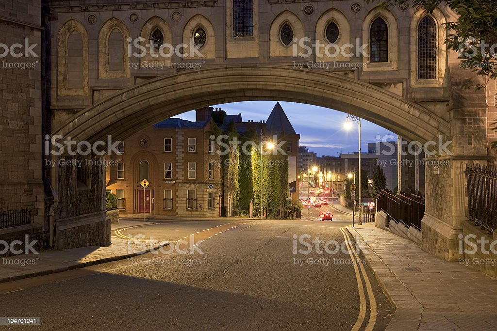Road view of Christ Church and Dublinia Historic building stock photo