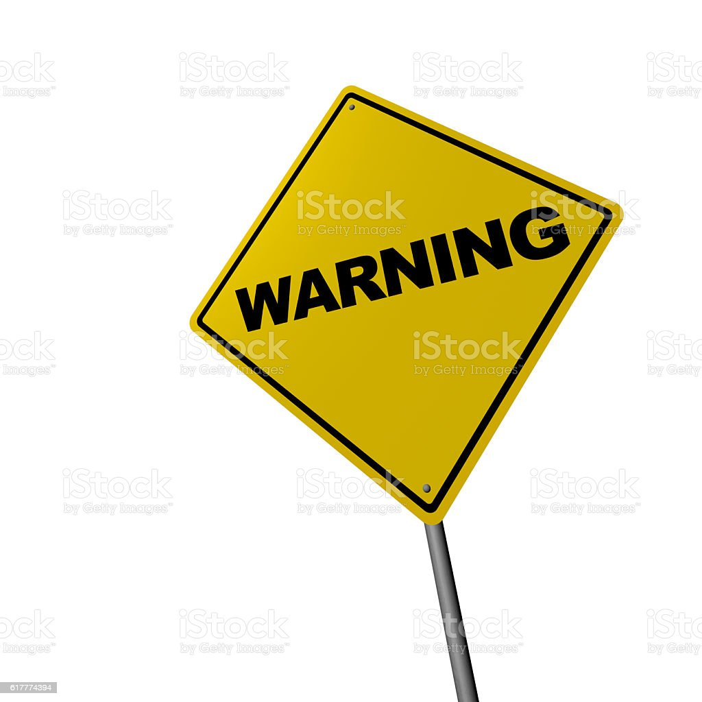 WARNING - Road Warning Sign stock photo