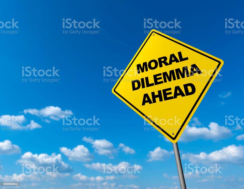 MORAL DILEMMA - Road Warning Sign stock photo