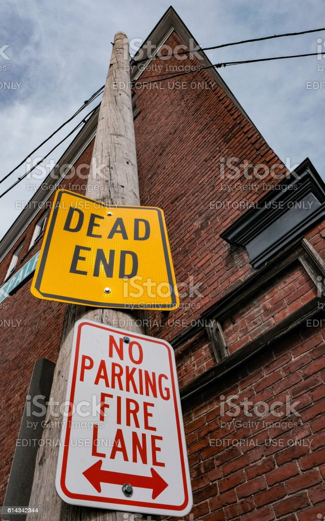Road Warning Signs In A US Residential Street stock photo