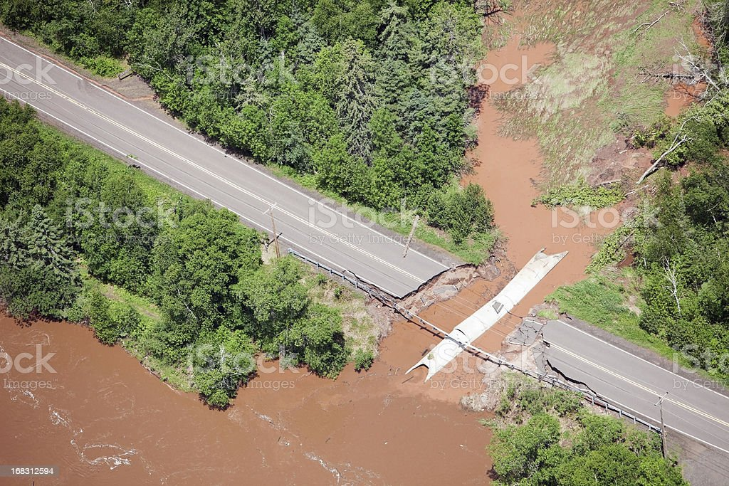 Road Washed Out from Storm Flooding stock photo