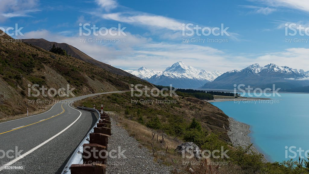 Road way to Mt Cook stock photo