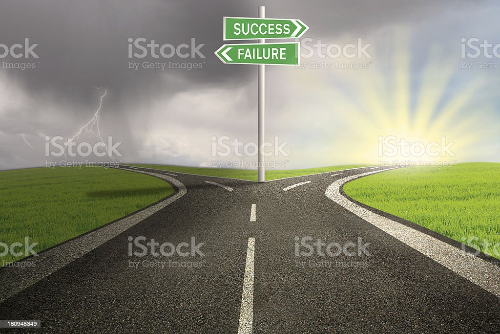 Road way to success or failure stock photo