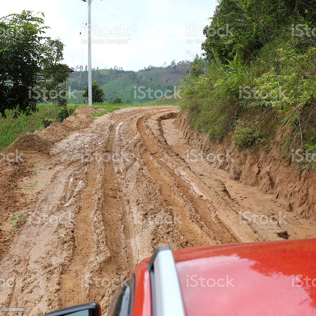 road wet muddy of countryside stock photo
