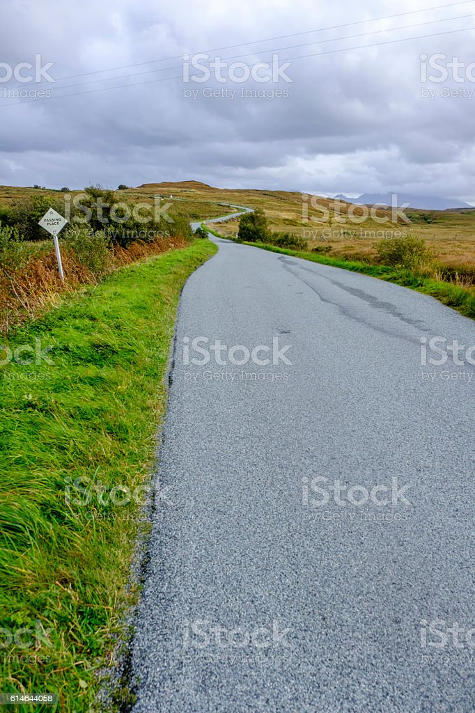 Road winding into the distance on Skye stock photo