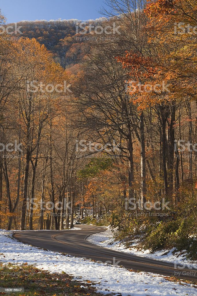 Road winding through snow-covered Great Smoky Mountain National Park royalty-free stock photo