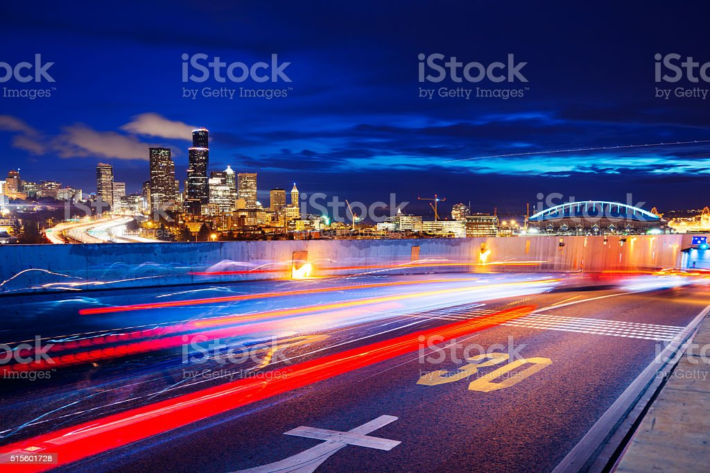 road with cityscape and skyline of seattle stock photo