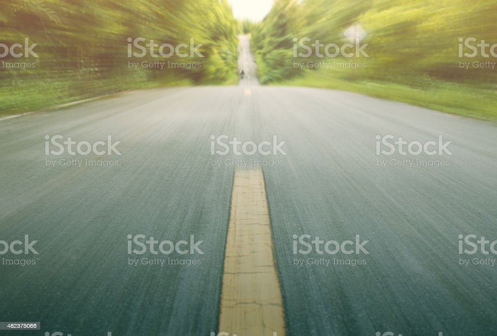 Road with motion blur in  country road stock photo