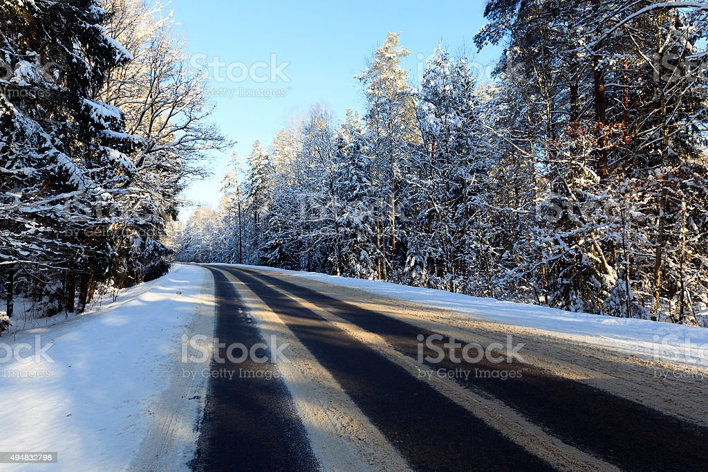 road  with snow stock photo