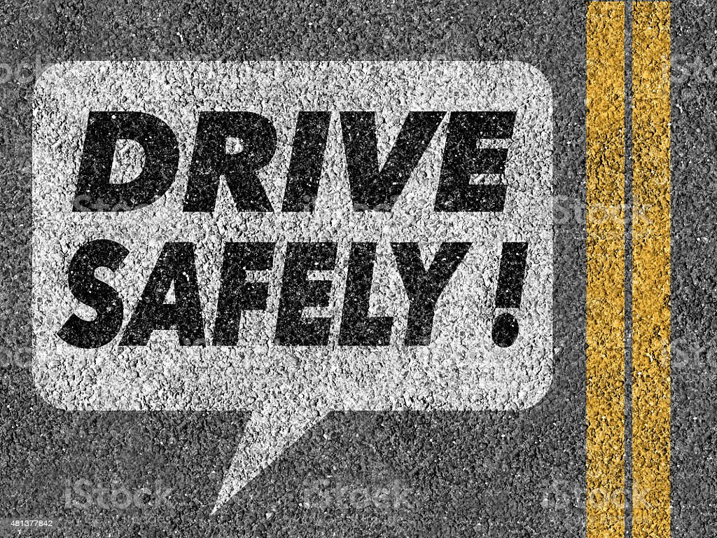 Road with speech bubble and Drive safely text stock photo