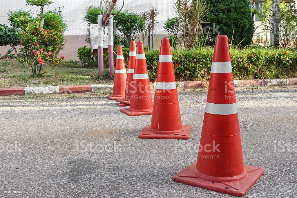 Road with the traffic cone. stock photo
