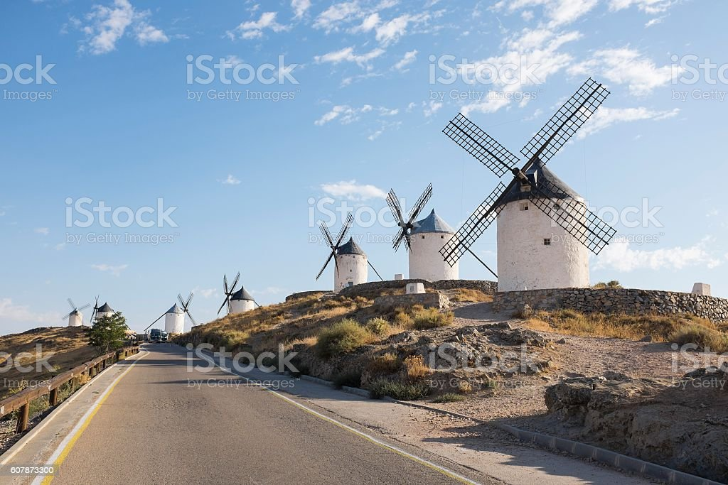 Road with Windmills in Consuegra stock photo
