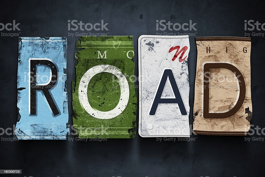 Road word on vintage car license plates, concept sign royalty-free stock photo
