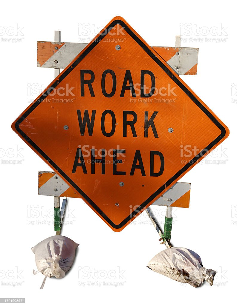 Road Work Ahead royalty-free stock photo