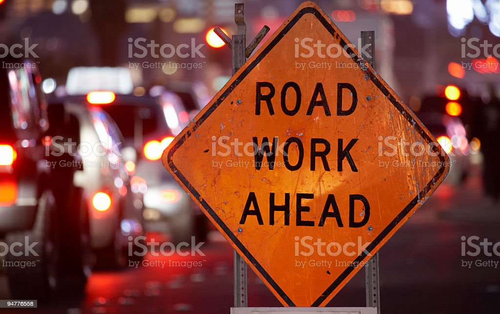Road work ahead sign royalty-free stock photo