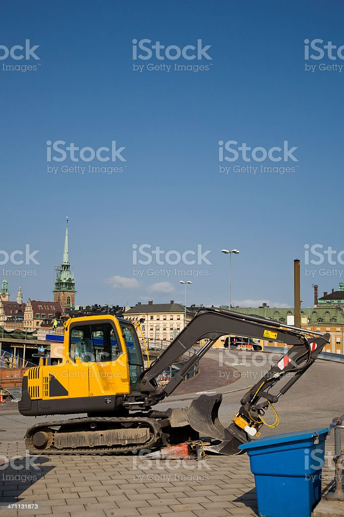 Road work in central Stockholm. royalty-free stock photo