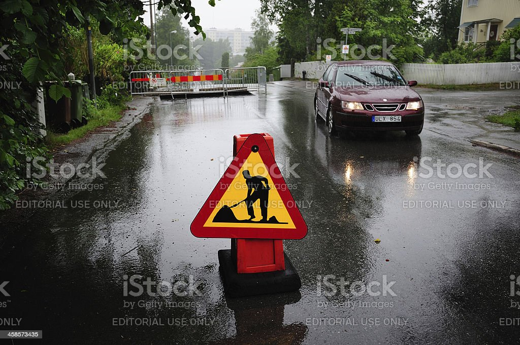 Road work in city royalty-free stock photo
