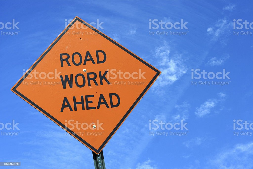 road work sign stock photo