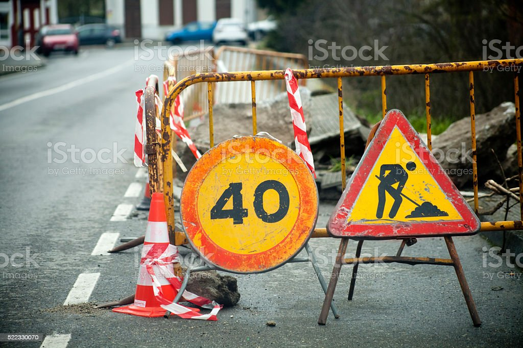 Road works ahead. stock photo