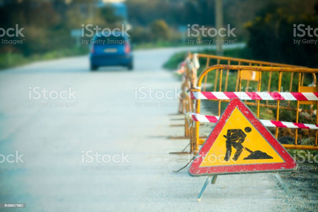 Road works ahead. stock photo