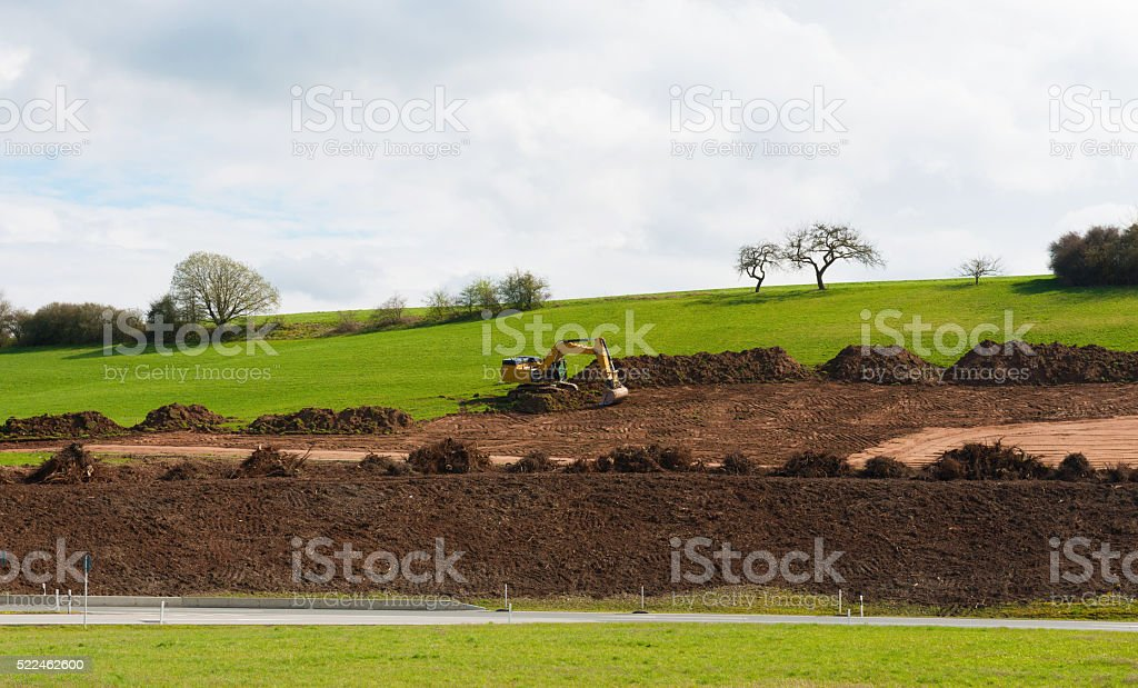 Road works and highway infrastructure improvement stock photo
