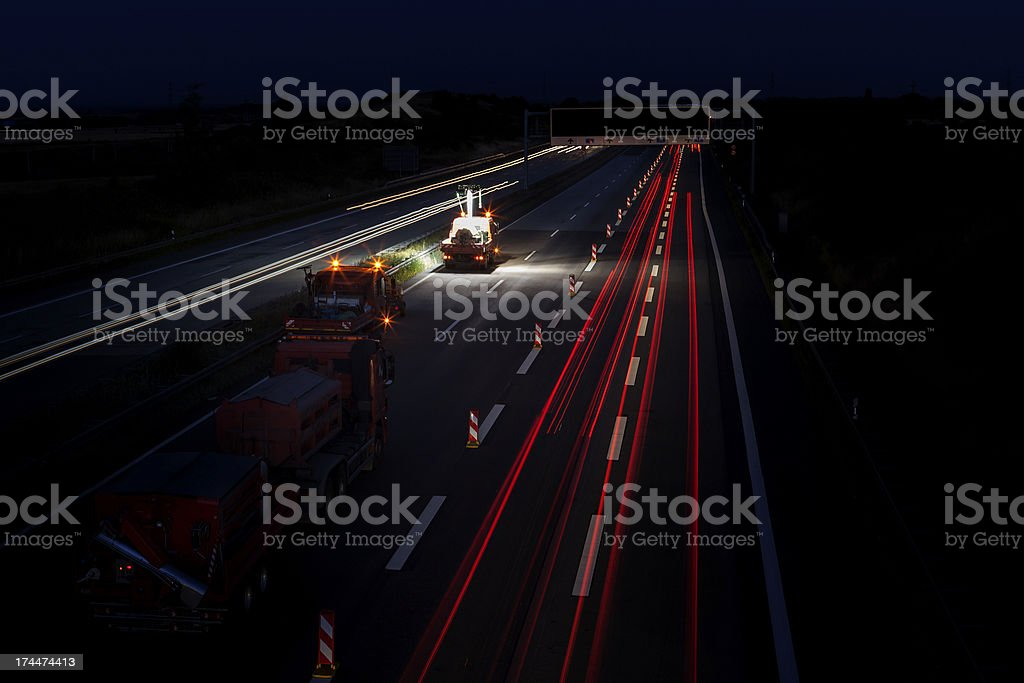 Road works at night stock photo