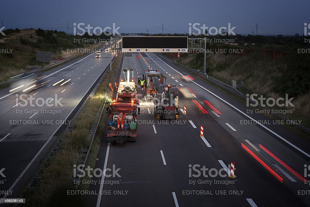 Road works on german highway A3 royalty-free stock photo