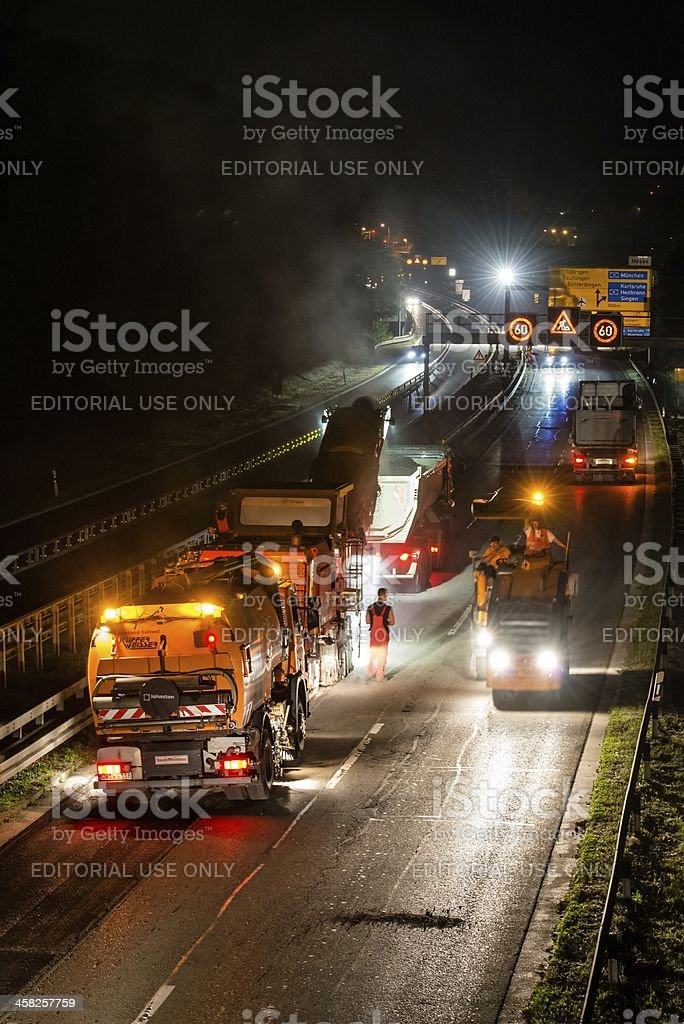 road works, removal of old asphalt pavement at night stock photo