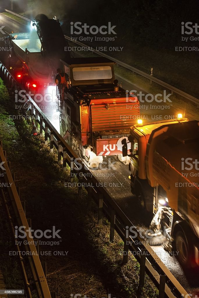 road works, removal of old asphalt pavement at night royalty-free stock photo