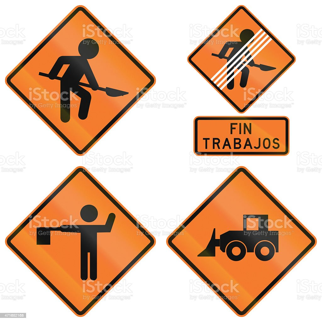 Road Works Signs In Chile stock photo