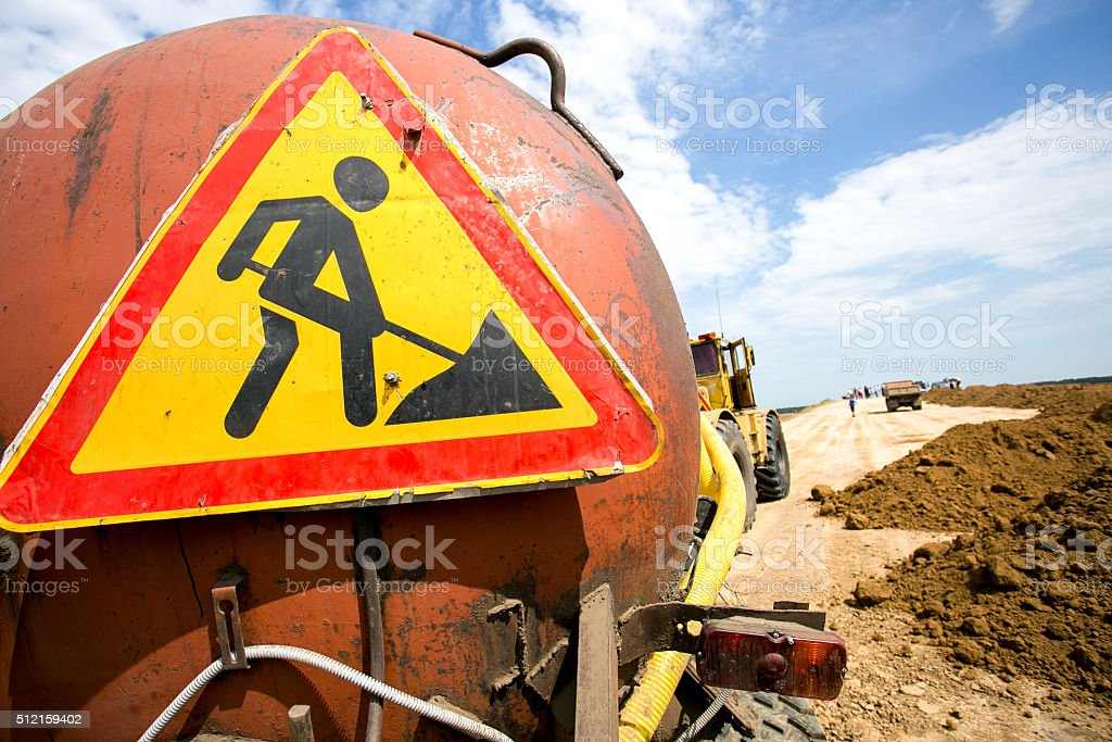 Road works signs on the truck stock photo