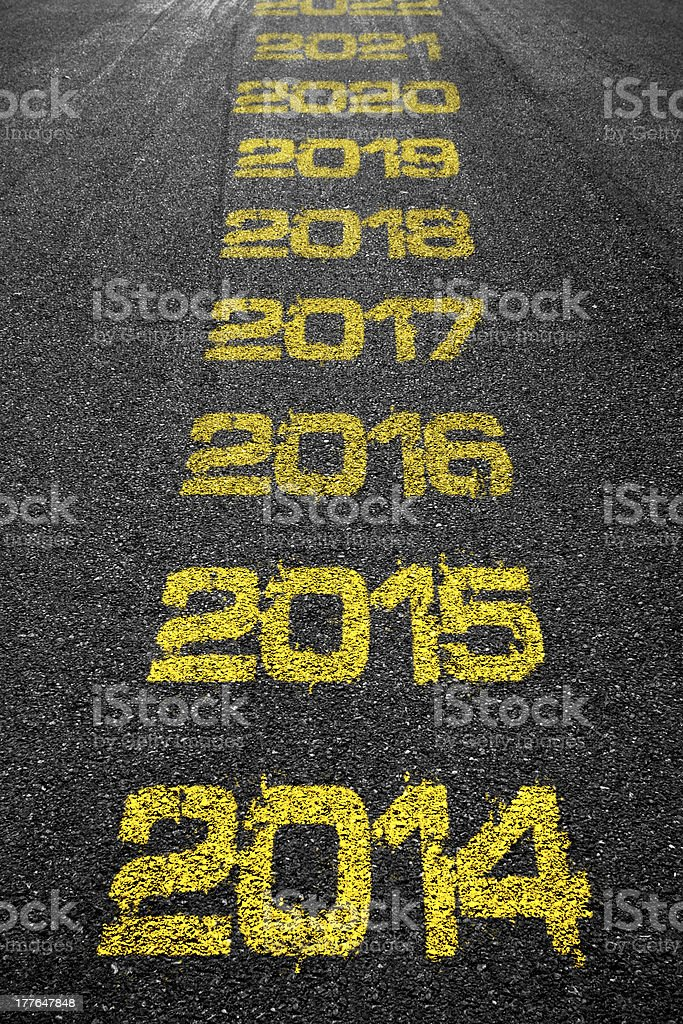 Road years marks stock photo