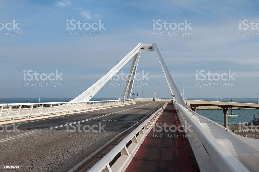 Roadbed of Bridge 'Puente Puerta Europa'. Barcelona, Spain stock photo