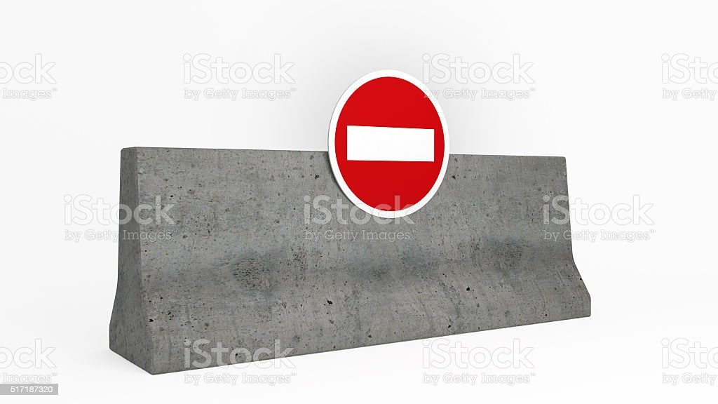 roadblock jersey barrier stock photo