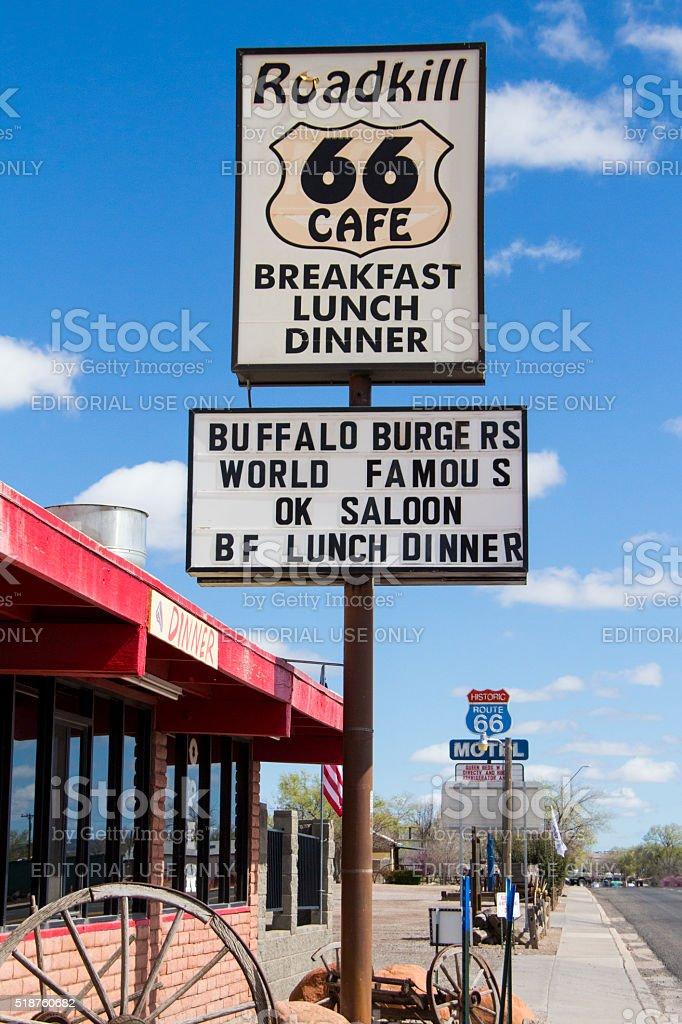 Roadkill Cafe Sign stock photo