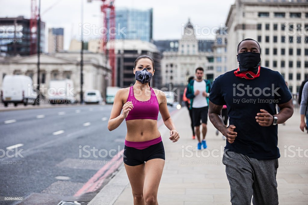 Roadrunners excercising in Central London stock photo
