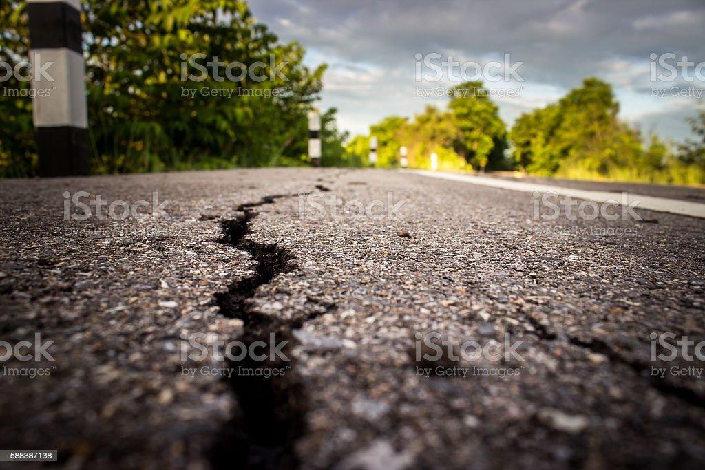 roads cracked stock photo