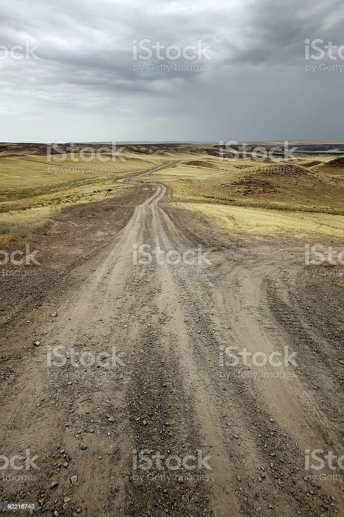 Roads in the desert royalty-free stock photo