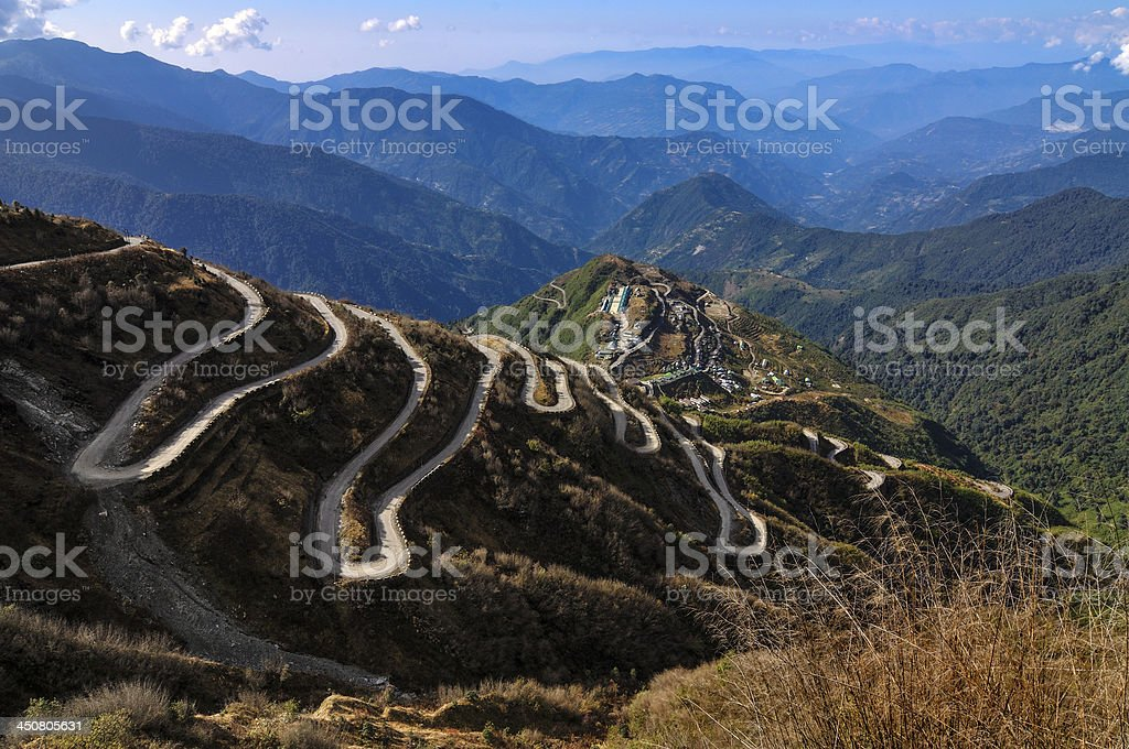 Roads on Old Silk Route, between China and India, Sikkim stock photo
