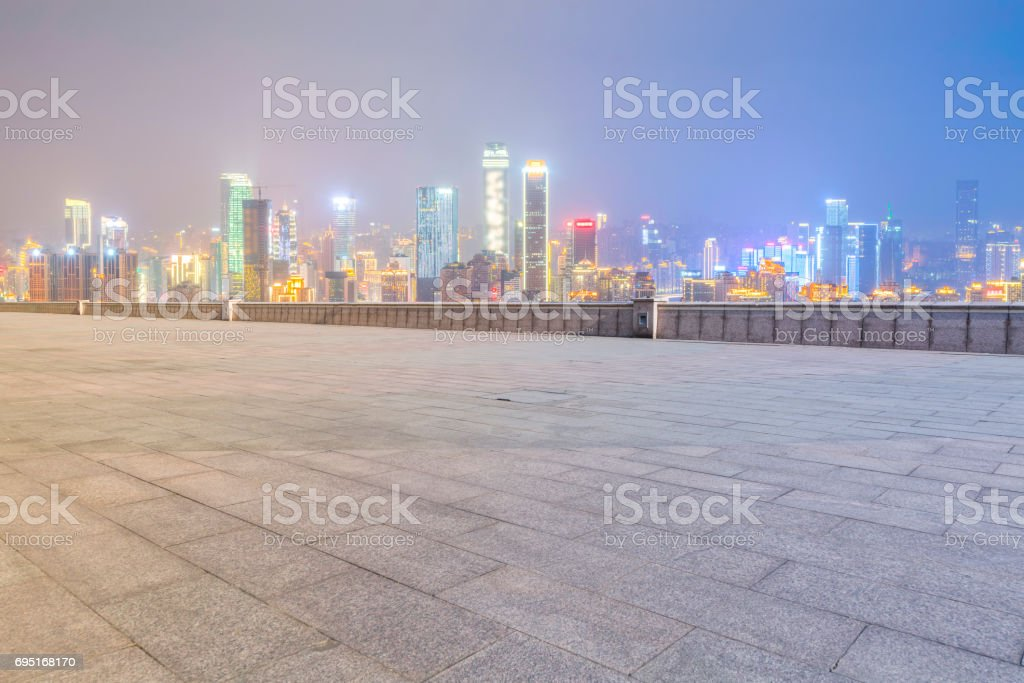 Roads, roads, and the beautiful skyline of Chongqing stock photo