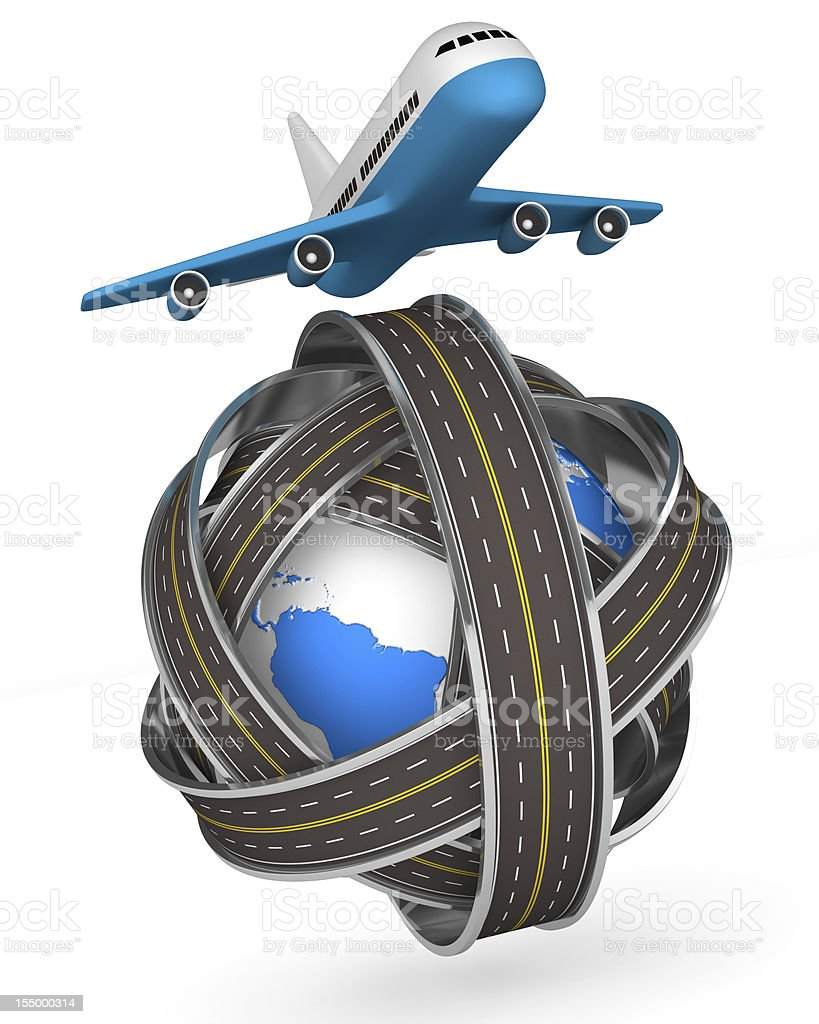 Roads round globe and airplane on white background. Isolated 3D royalty-free stock photo