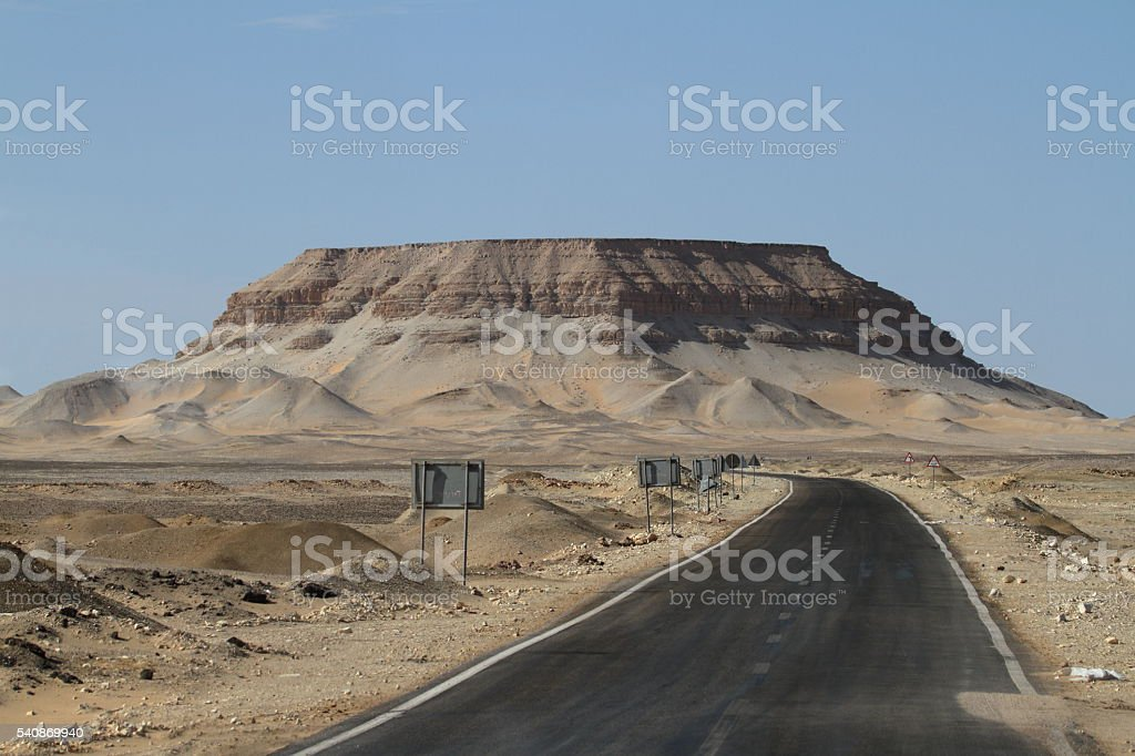 Roads through the Sahara in Egypt stock photo