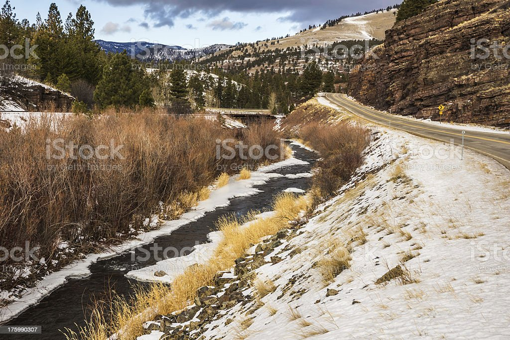 Roads, Tracks, and Creek stock photo