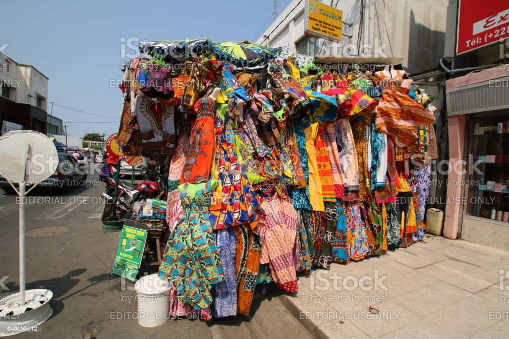 Roadside African Textiles Stall, Lomé, Togo, West Africa stock photo