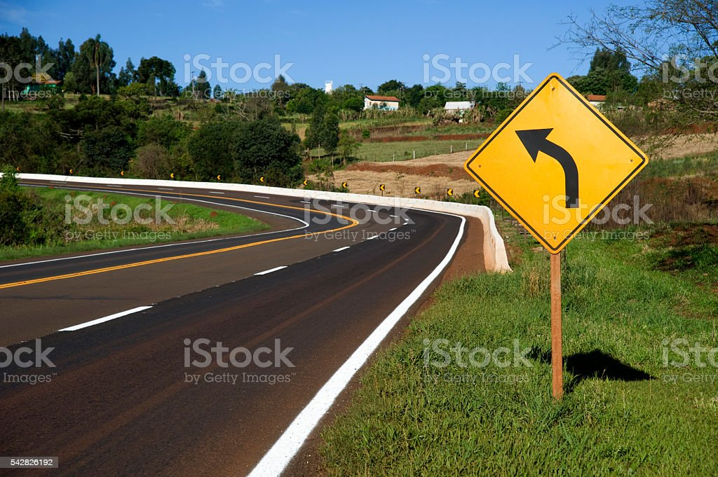Roadside and Sign stock photo