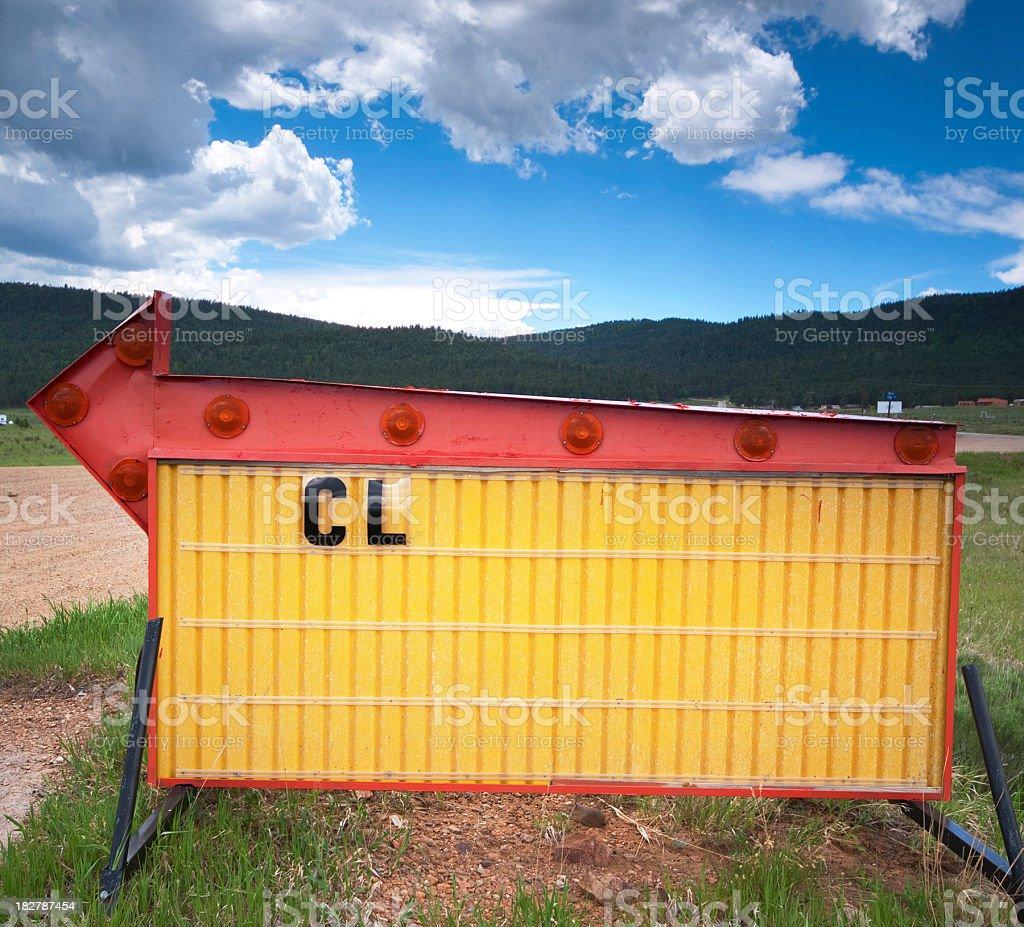 roadside arrow sign landscape royalty-free stock photo