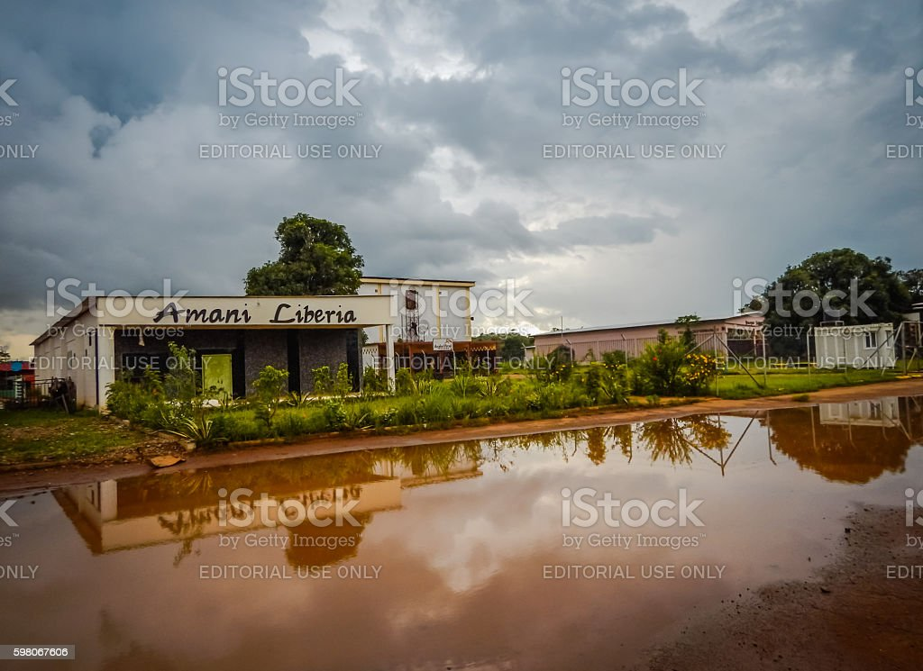 Roadside cafe in Liberia. West Africa stock photo