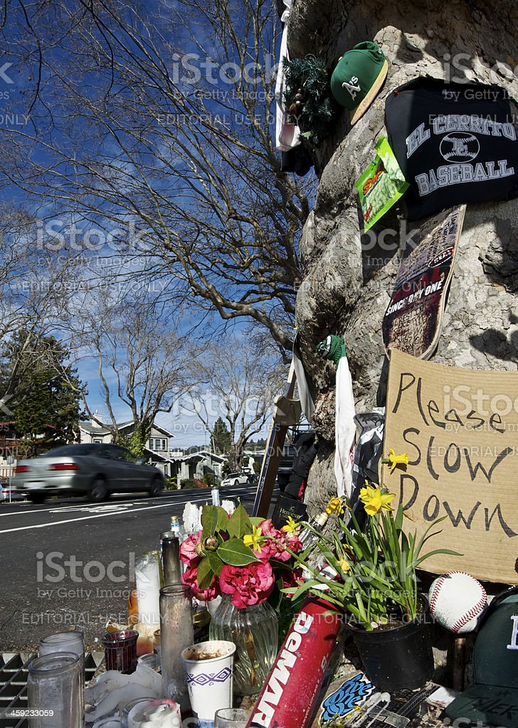 Roadside Crash Memorial stock photo